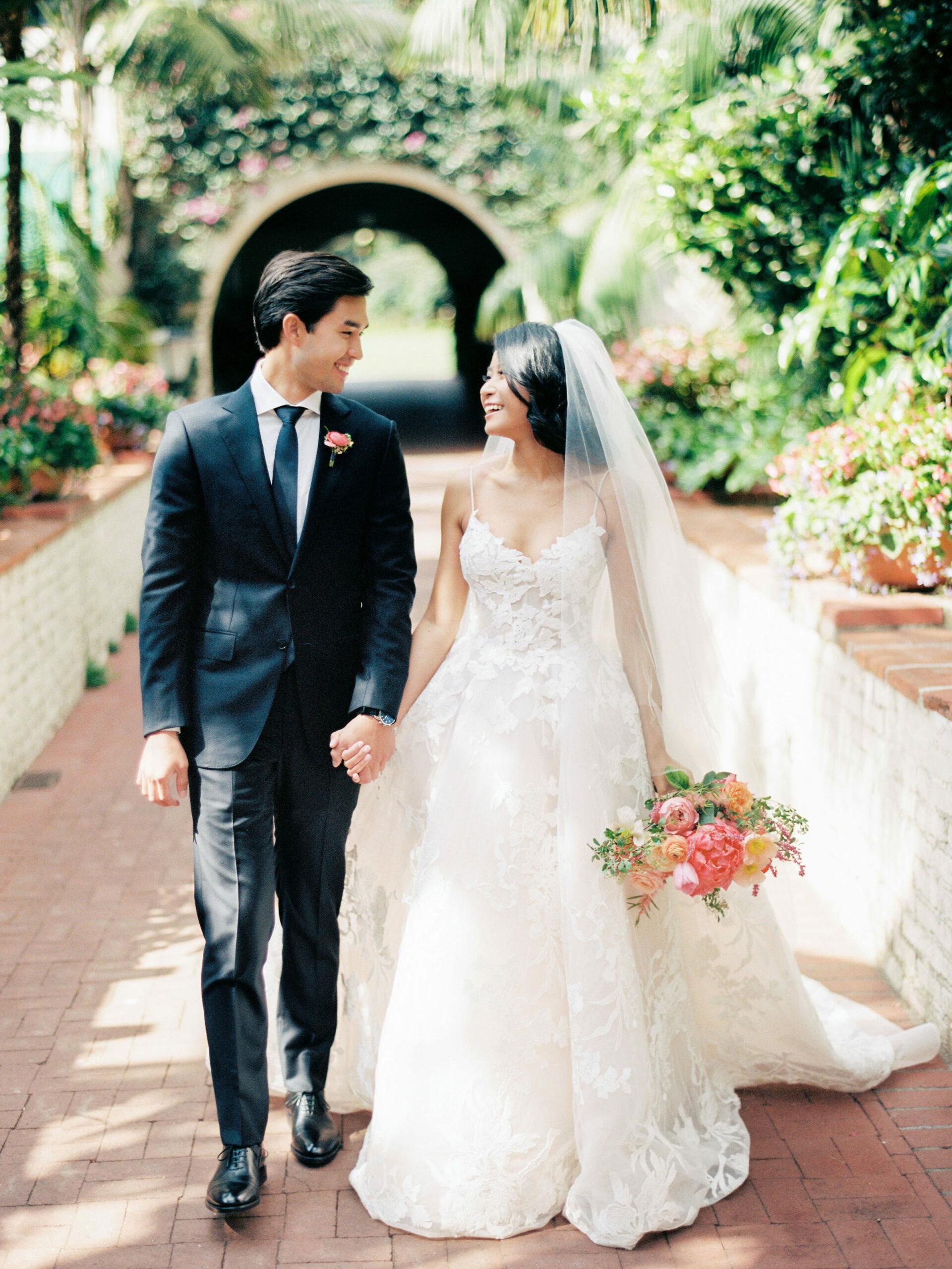 film wedding photos of couple at a four seasons Biltmore Santa Barbara wedding
